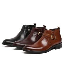 Moda negro/marrón/vino rojo para hombre botines zapatos de vestir de cuero genuino botas para hombre de negocios zapatos de la boda con hebilla