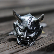 Mens 316L Stainless Steel Japanese Anger Hannya Ghost Mask Pendant Necklace Punk Gothic Biker Jewelry