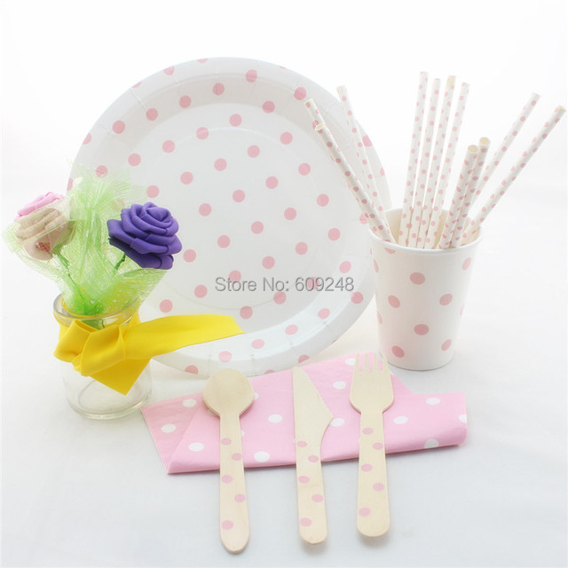 Baby Pink Polka Dot Party Tableware Set WholesaleBaby Shower Party Supplies Wooden Cutlery Set  sc 1 st  AliExpress.com & Baby Pink Polka Dot Party Tableware Set WholesaleBaby Shower Party ...
