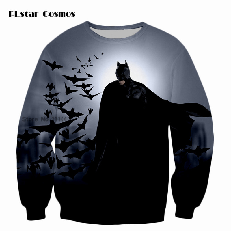 PLstar Cosmos Detective Comics Batman 3D Print Crewneck Pullovers Kids Sweatshirts Casual Men Loose Tops Hoodies Super Size 5XL