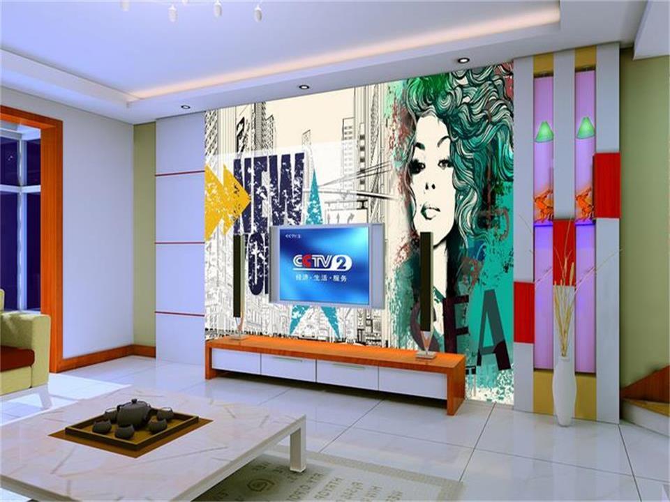 3d Wallpaper Foto Benutzerdefinierten Wandbild Wohnzimmer New York Abstrakte Schnheit Malerei Sofa TV Hintergrundbild Fr