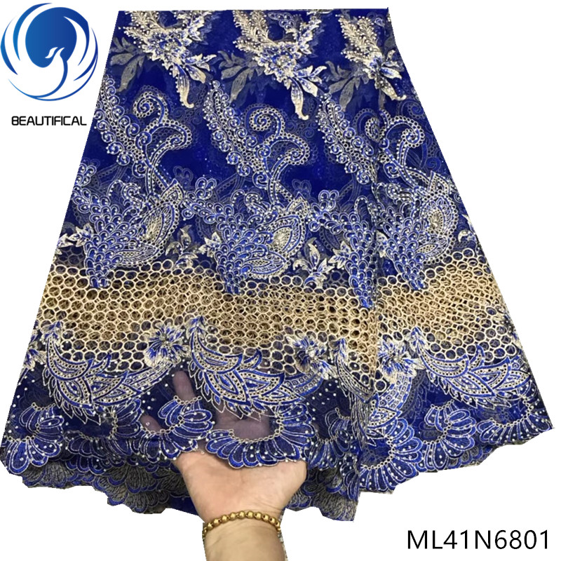BEAUTIFICAL embroidery african lace 2019 wedding party dresses laces for women nigerian tulle lace ML41N68