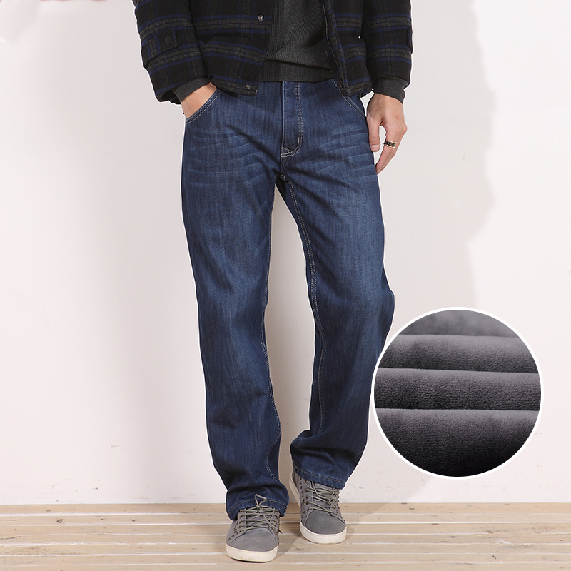 Winter Thermal Warm Men Fleece Casual Straight Jeans Stretch Thick Denim Flannel Soft Pants Trousers  Plus Size 28-48