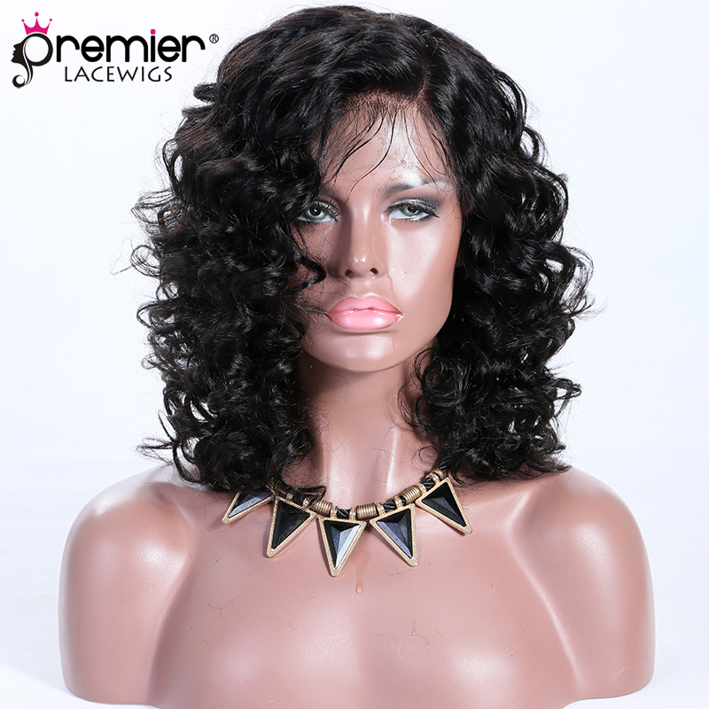 PREMIER 13x3 Lace Frontal Wig Short Curly Style Indian Remy Hair 1B# 12 inches,150% Density,Removable Elastic Band [Destiny]