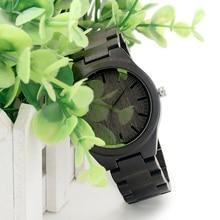BOBO BIED Brand Designer H05 Ebony Wooden Watch Genuine Wood Band Japan Quartz 2035 Watch Mens Watches With Gift Box Relogio