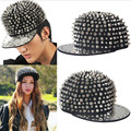 New Arrival 2016 Punk Unisex Hat Gold Spikes Spiky Studded Rivet Cap baseball cap hat hip hop cap Multicolor