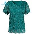 Cordón femenino del verano yardas grandes de manga corta t-shirt estilo de la moda, además de fertilizantes tops elástico de algodón camiseta femenina