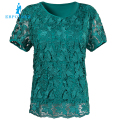 Lace female summer big yards short sleeve t-shirt style fashion plus fertilizer tops elastic cotton t-shirt female