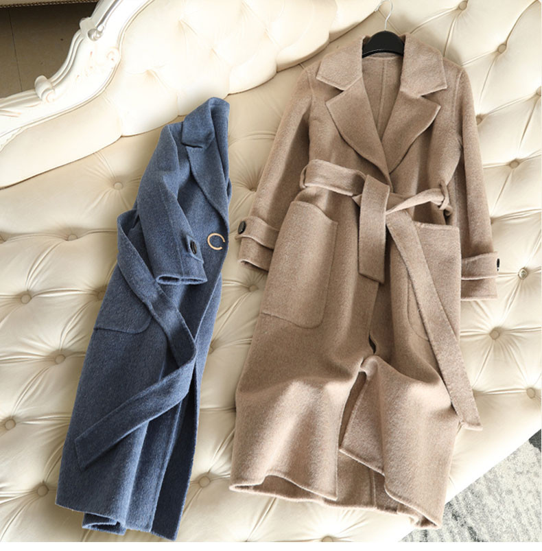QIAN SI CHEN 19 Autumn New 100% Cashmere Coat Alpaca Warm Winter Coat Women Long Wool Coat Office Lady Slim Female Overcoat 11