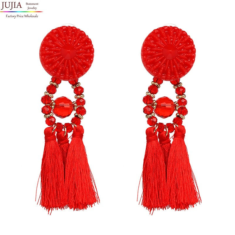 9 colors 2017 rope tassel good quality Jewelry big resin Elegant long tassel beads Earrings for Women Fringing earrings jewelry