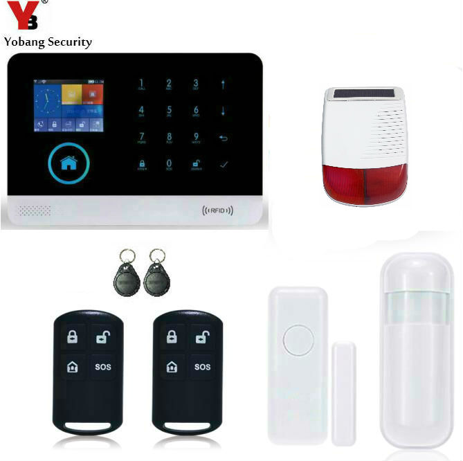 Yobang Security-Touch Keypad 2.4G WiFi GSM Alarm System GPRS IOS Android APP Control House Alarme Residencial Sistema with RFID yobang security ios android app wifi gsm wireless blue siren security ip camera alarm system smart mini pir door open alarma
