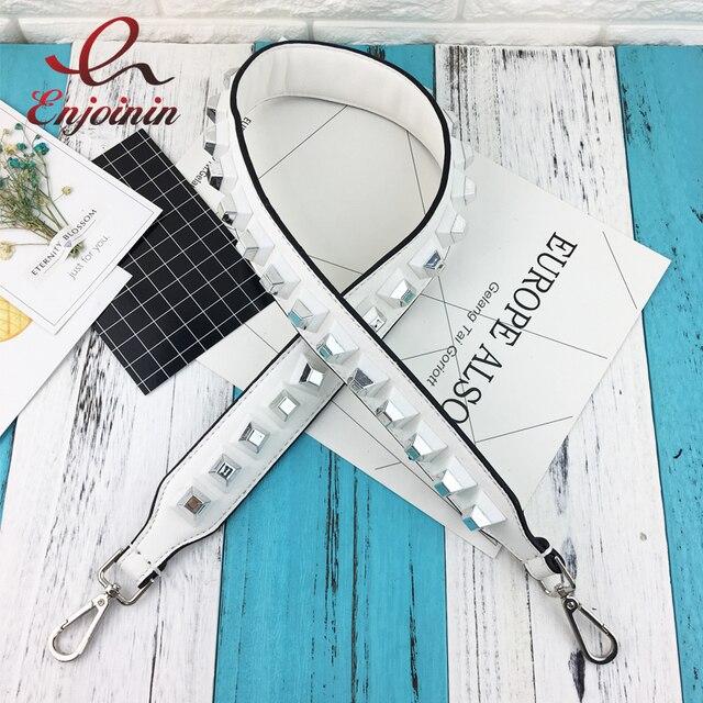 Fashion style design white pu leather silver buckle rivet ladies handbag shoulder bag bag parts accessories strap