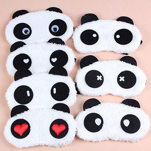1Pc Fashion 3D Soft Eye Sleep Mask Eyepatch Padded Shade Cover Rest Travel Relax Sleeping Blindfold White Panda Eye Care Tools