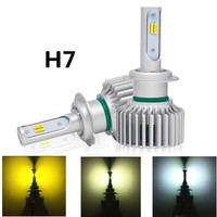 Car 3000K 4300K 6000K H7 3 Color In One H4 LED Bulb Headlight White Yellow 60W