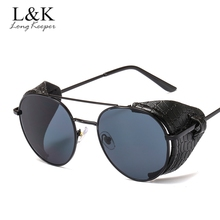 Fashion Vintage Steampunk Sunglasses Men Women Leather Side Shield