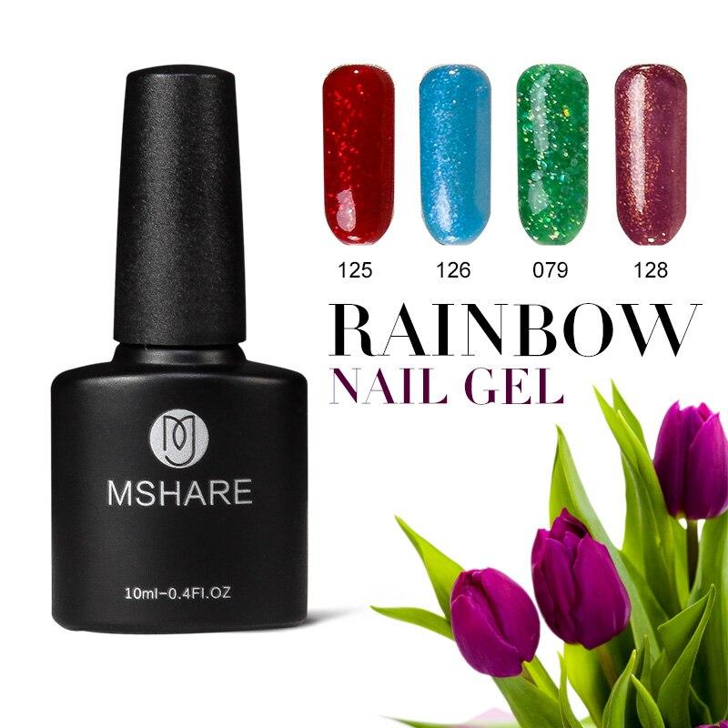 MSHARE 10 ml UV Verniz Gel Polonês Vernis Semi Permanente Base Top Coat Soak-off Laca Profissional Nagellack Bling Manicure MS014