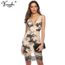 Sexy V neck Backless sequins summer dress women vintage sleeveless party elegant luxury Night club bodycon dresses vestido
