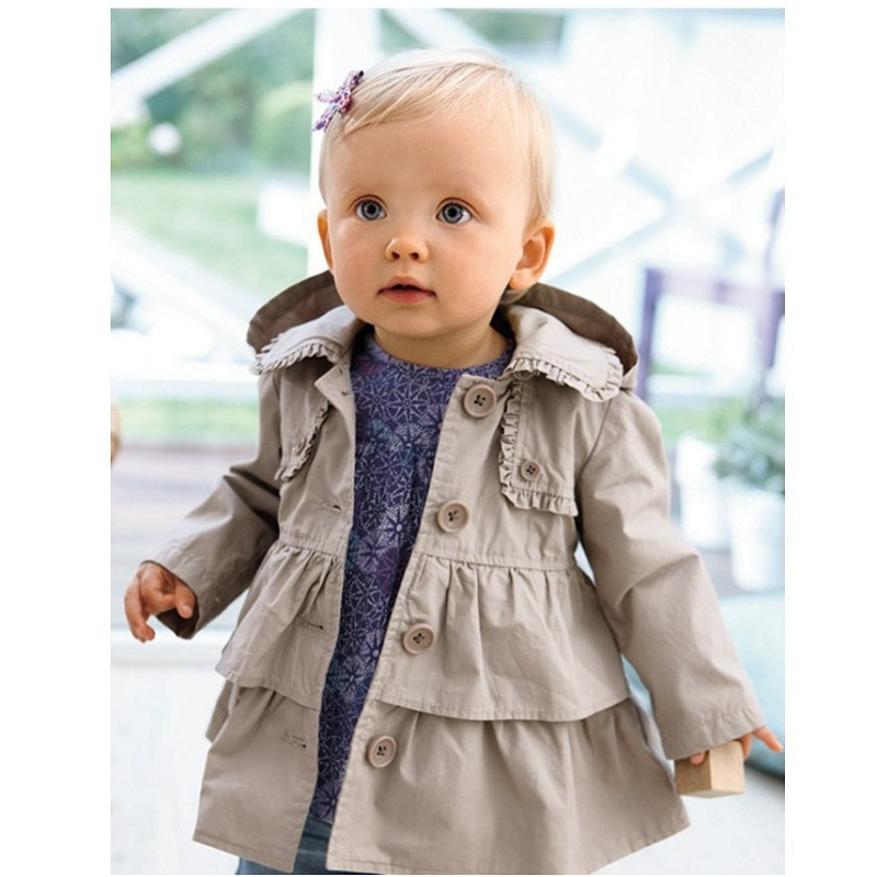 Hooyi Baby Girls Trench Coats Children Clothes Outfits Kids Hooded Girls Outerwear Jacket Grey Hoodies Jumpers Overcoat 1-5Year