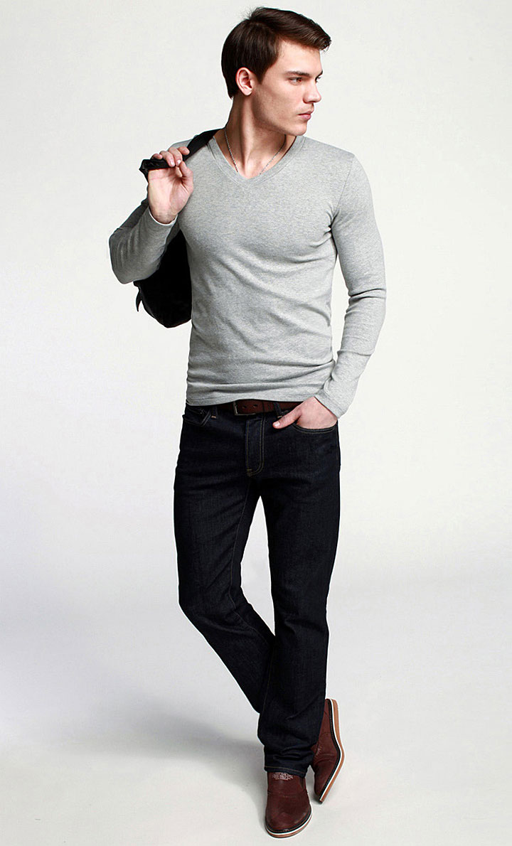Elastic Mens T-Shirt V-Neck Long Sleeve Men T Shirt For Male Lycra And Cotton T-Shirts Man Clothing TShirt 14