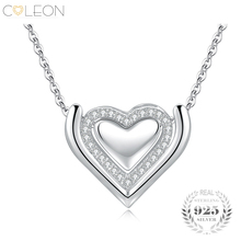 Coleon 100% 925 Sterling Silver Heart Love Pendant Necklace with Various Gemstones Jewelry for Women Christmas Valentine Gift