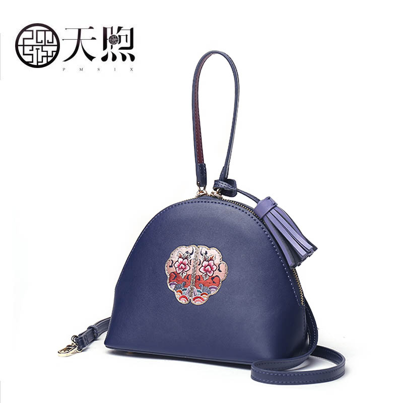 Pmsix Messenger Bag Female 2018 new retro embroidery Chinese style simple mobile hand bag Leather saddle bag elsie mochrie simple embroidery