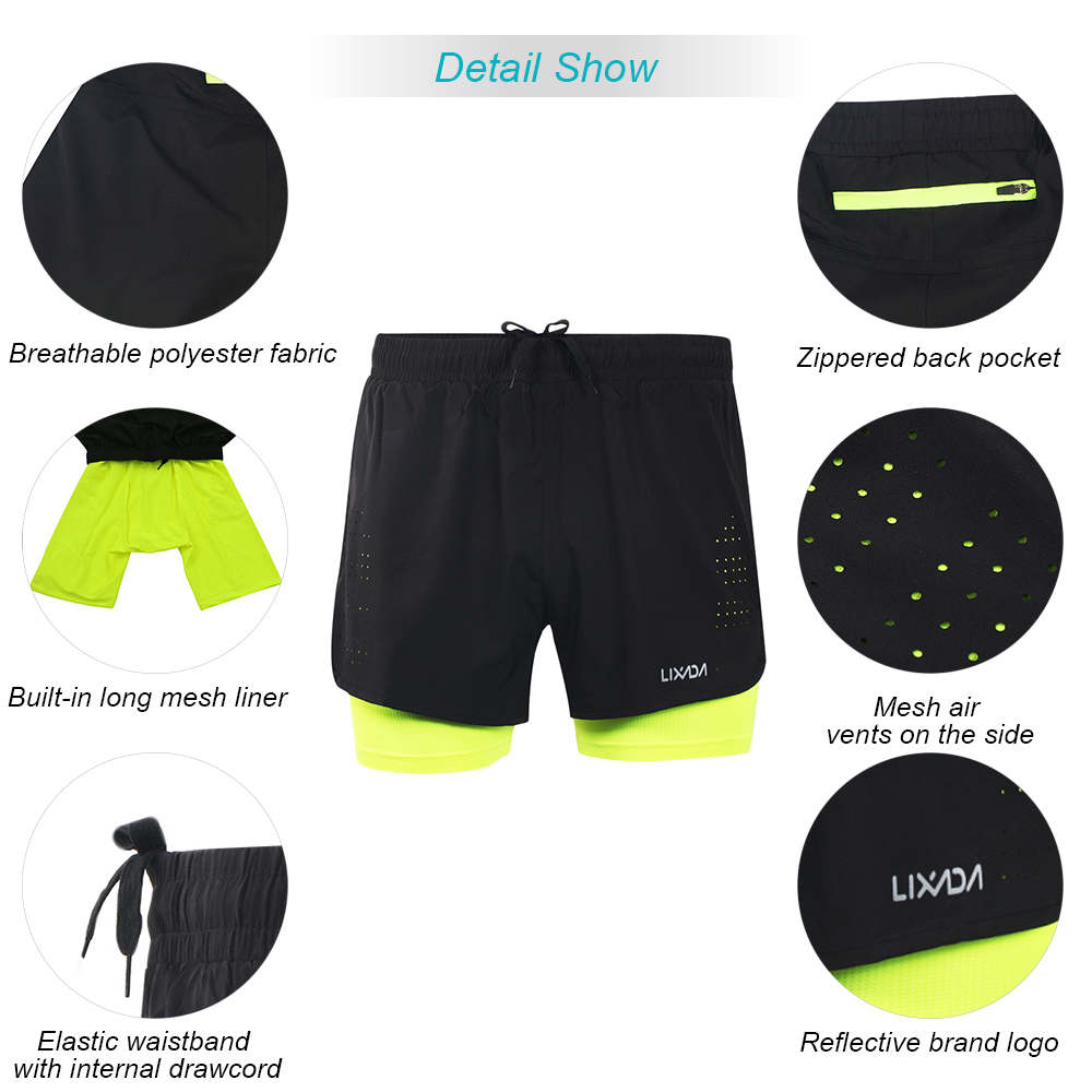 b09a91e1787 2019 Lixada Men 2 In 1 Running Shorts Quick Drying Breathable Gym ...