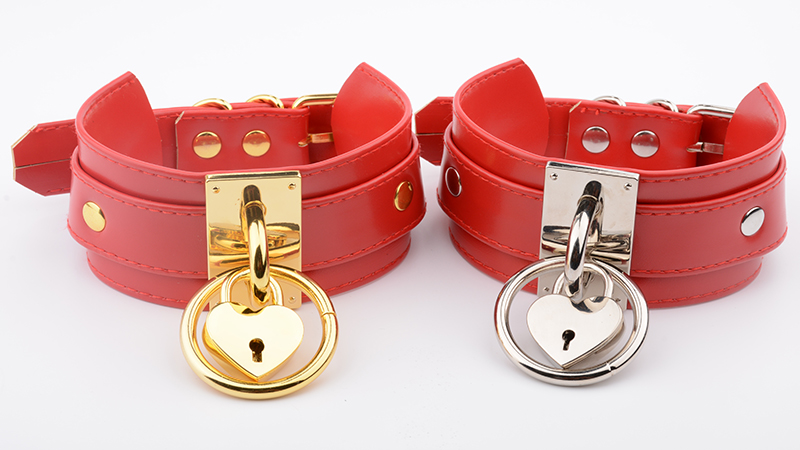 Charm Women Red Lolita Oversized Customized Handmade Necklace Leather Silver O Round With Lockable Heart Pendant Kawaii Collares 7