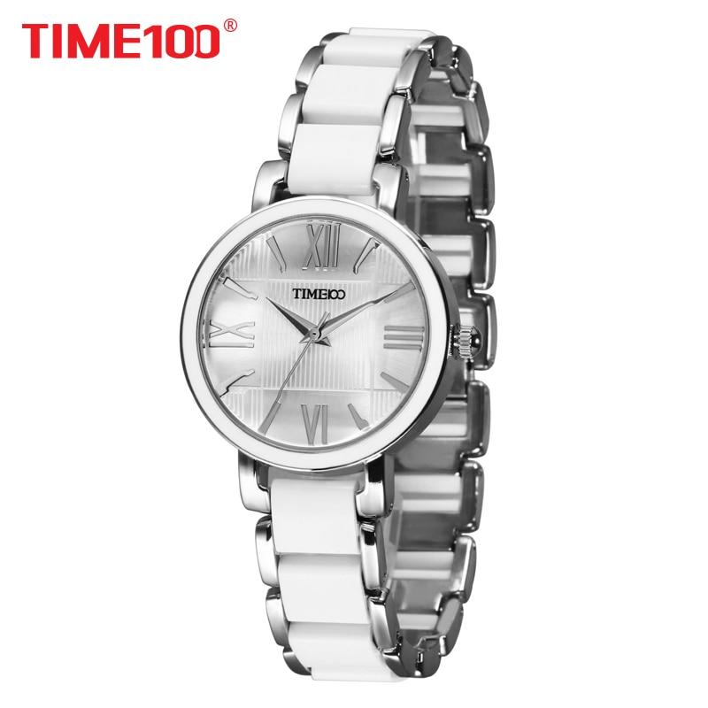 TIME100 נשים קוורץ שעונים לבן צמיד קרמיקה מדומה שעונים נשים שעונים מקרית XFCS relogios femininos