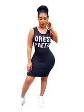 2018 New Arrival Sexy Women Summer Black Letter Dress O-Neck Sleeveless Slim Bandage Mini Dress H9318