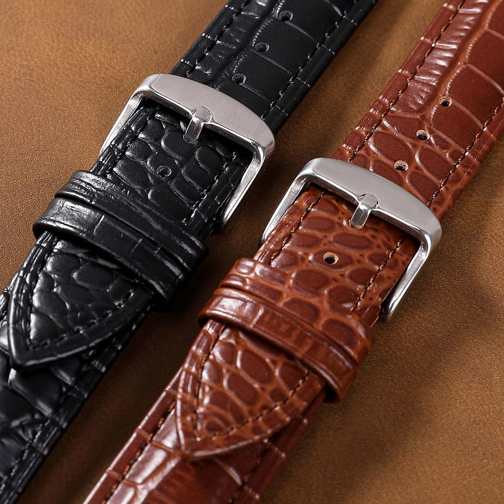 New Women Men Watch Band Genuine Leather Straps <font><b>12mm</b></font> 16mm 20mm Watch Accessories High Quality Brown Colors 22mm 24mm Watchbands image