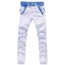 2015 мода мужские джинсы белый свободного покроя брюки новое человека прямые брюки дизайнерские брюки 28—34 бесплатная доставка