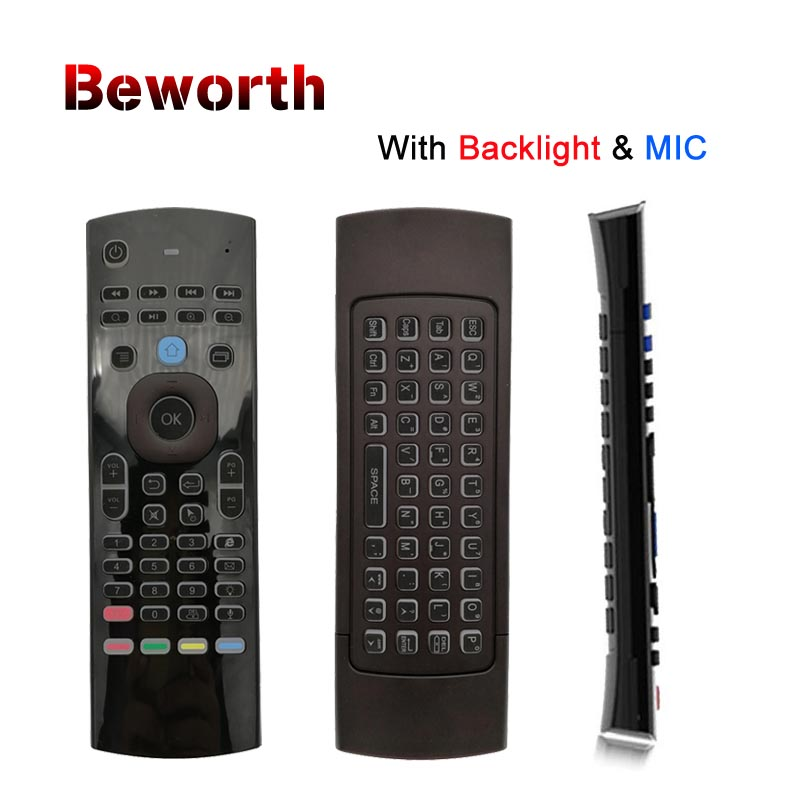 Russa T3 Backlight Mic 2.4g Fly Air Mouse com Microfone Mini Backlit Teclado IR Aprendizagem Controle Remoto Sem Fio Gamepad