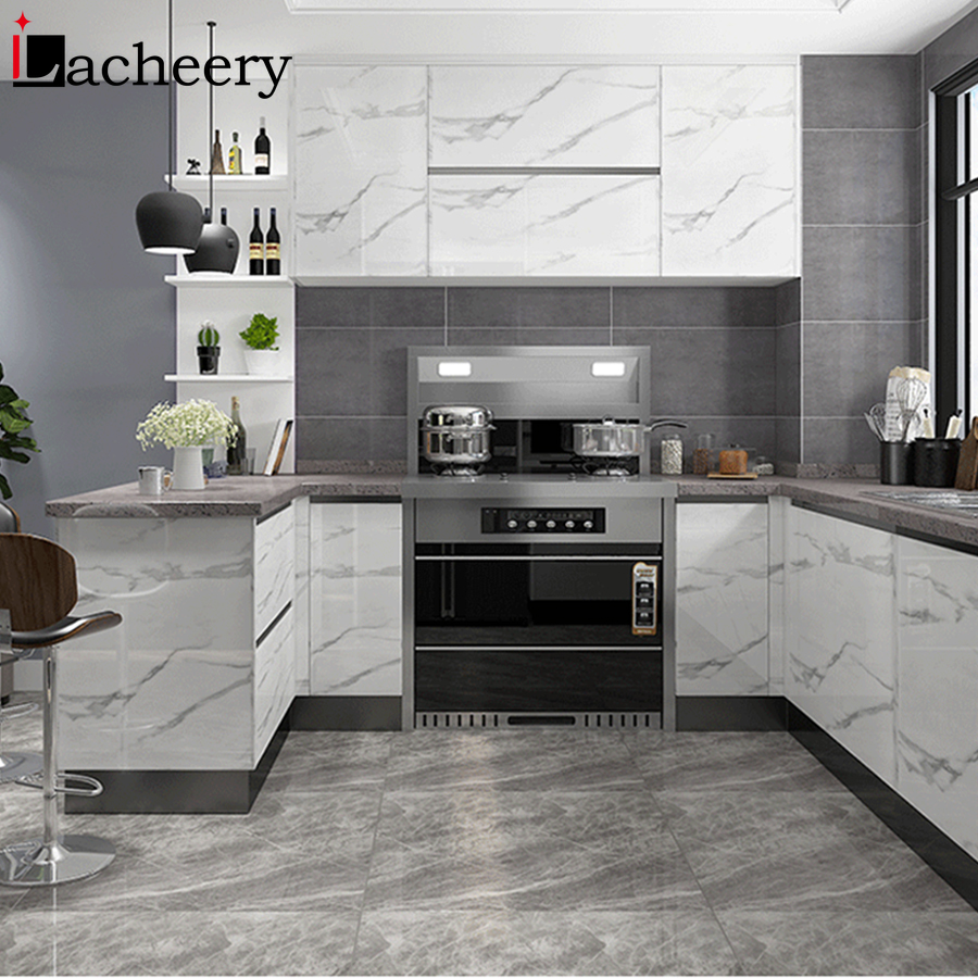 Modern Marble Self-adhesive Wallpaper Kitchen Cabinet Door Desktop Furniture Refurbished Stickers Vinyl Waterproof Contact Paper