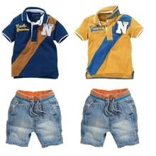 아기 소년 진 옷 세트 어린이 폴로 셔츠 + 짧은 진 양복 소년 복장 아동 의류 캐주얼 유아 의류 바지 2 7 년