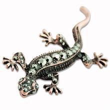 Metal Alloy Lizard Animal Brooch Rhinestone Brooches For Female Pins Lapel Pin Women Wedding Scarf Clip Collar Tips Hijab Pin