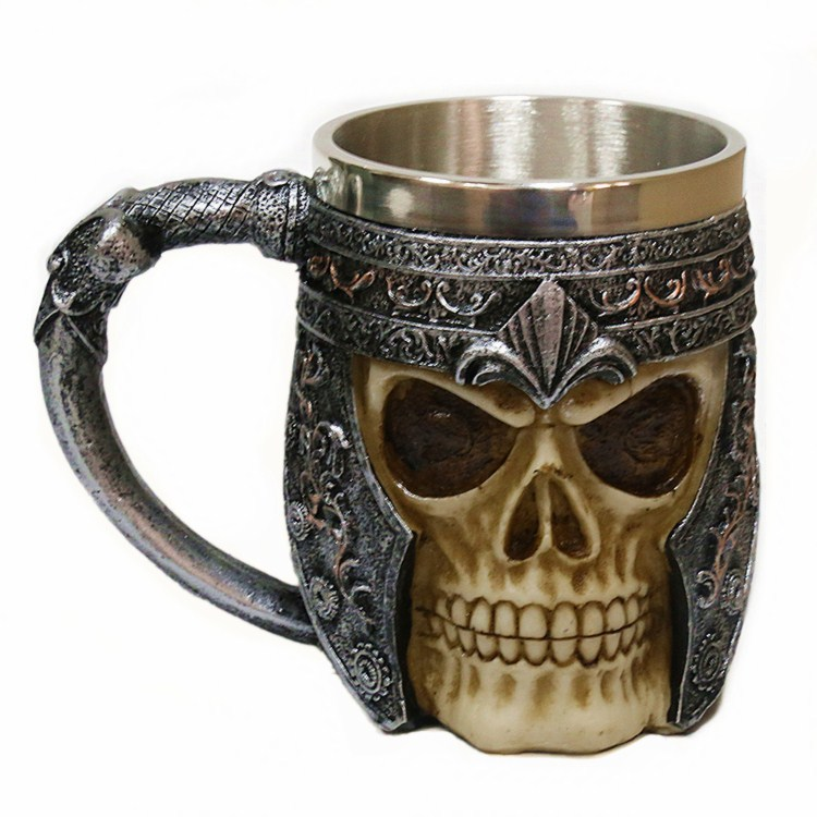Skull Mug Halloween Gift Stainless Steel Skull Coffee Mug Cup 3D Skull zao xing bei blue french horn ceramic mug how i met your mother inspired coffee mug tv coffee cup anniversary gift