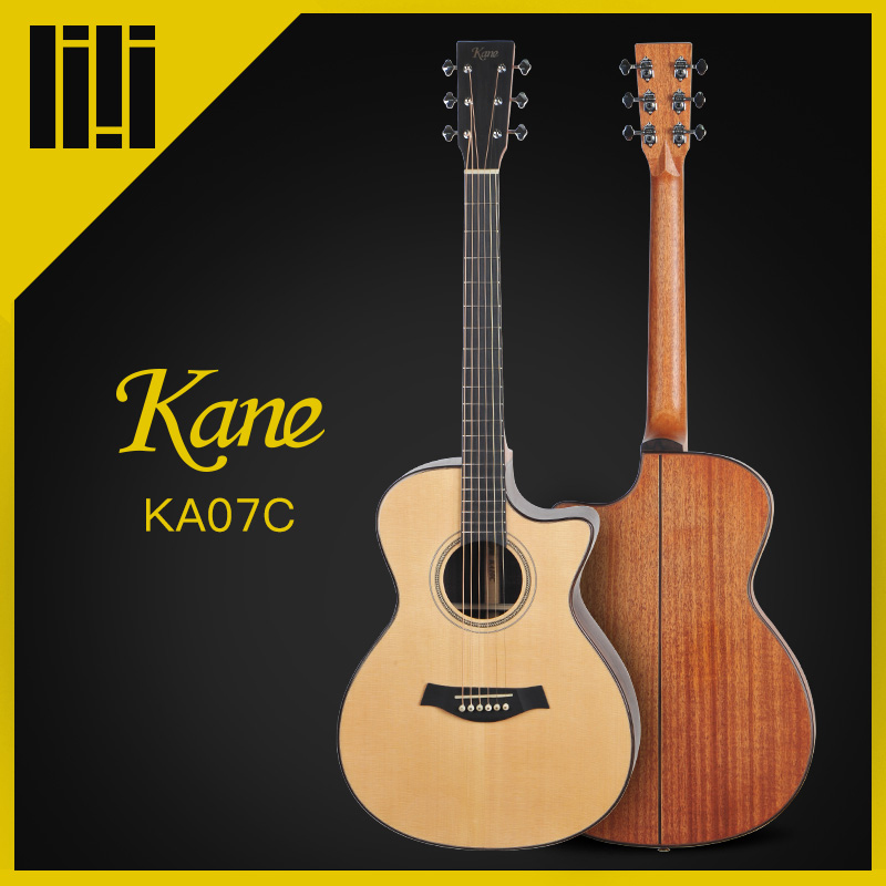 Kane Brand Guitar Rounded Corner & Cutaway Acoustic Guitar solid wood top China 2 Color 36/40/41 Inches Guitarra K-07/08 high quality solid wood guitar 41 inch spruce wood panel acoustic guitar guitarra free shipping