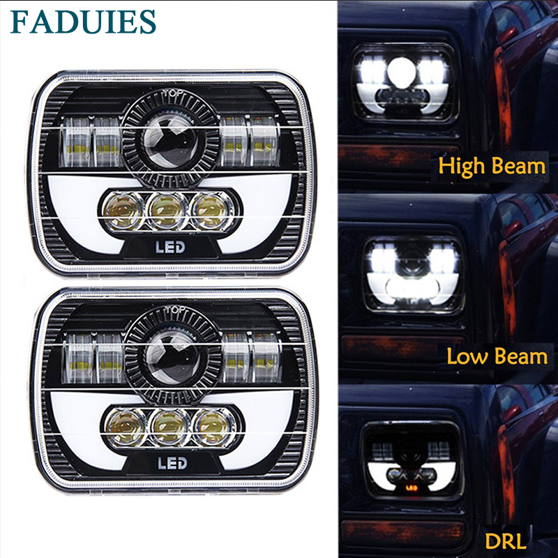 FADUIES 5x7 Auto DRL Led headlamp 5x7 Inch Led Truck Headlight 6x7 High/Low beam Square Led Headlight For Jeep Cherokee XJ pair square 5x7 inch led headlight daymaker sealed beam replacement truck light high low beam headlamp for jeep wrangler yj