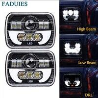 FADUIES 5x7 Auto DRL Led Headlamp 5x7 Inch Led Truck Headlight 6x7 High Low Beam Square