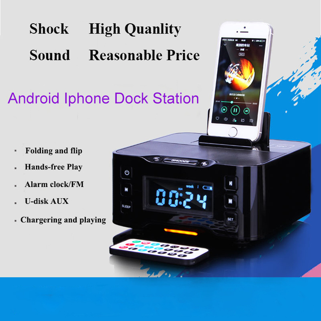 save off 74d03 cebbd LCD Digital FM Radio Alarm Clock Bluetooth Dock station for IOS Apple  iPhone6 7 8 X for Samsung xiaomi huawei Android charger