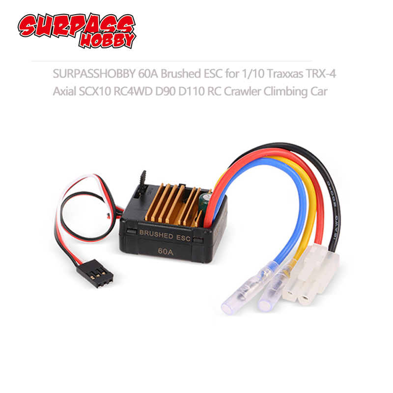60A Brushed ESC with 5V/2A BEC Tamiya Plug for HSP HPI Kyosho TRAXXAS 1/10 RC Crawler Off road Climbing Car-in Parts & Accessories from Toys & Hobbies
