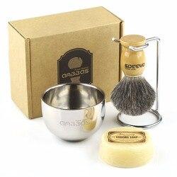Juego de brochas de afeitar 4in1 Anbbas brocha de afeitar genuina de tejón negro/mango de madera soporte de afeitar de acero inoxidable y taza de jabón con jabón