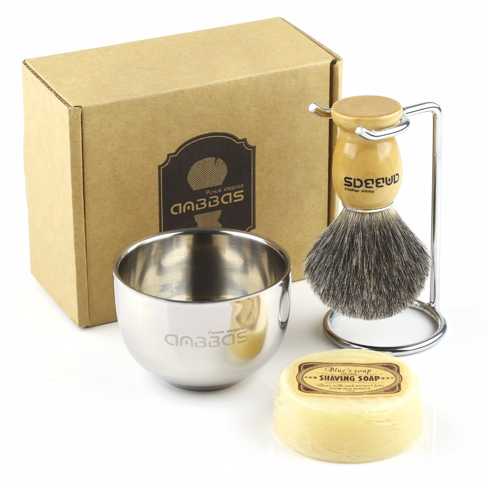 Shaving Brush Set 4in1 Anbbas Genuine Badger Shave Brush Black /Wood Handle Stainless Steel Shaving Stand And Soap Cup With Soap