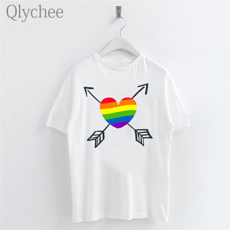 Qlychee Harajuku Rainbow Love Arrow Female T Shirts Top Tees Crew Neck Short Sleeve Color Block Summer Women T-shirts T Shirt