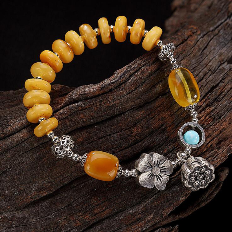 2019 Charm Bracelet 100% Real 925 Sterling Silver Jewelry Women Men Mosaic Beeswax amber Turquoise Lotus bracelets & bangles YB5