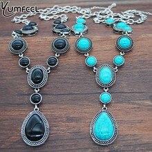 Yumfeel Классические Элегантные ожерелья с кулоном из синтетической бирюзы модные ожерелья с длинной цепочкой в форме капли воды для женщин ювелирные изделия