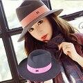 Maison Michel M широкими Полями шерстяного Войлока Top hat Марка Винтаж элегантный Британский Стиль Дамы fedora Шляпа Для Женщины женщина Осень Зима
