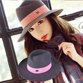 Maison Michel M wide Brim wool Felt Top hat Brand Vintage Elegant British Style Ladies fedora Hat For Women female Autumn Winter