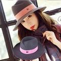 Maison Michel M wide Brim wool Felt Top hat Brand Vintage Elegant British Style Ladies fedora Hat For Women female Autumn Winter