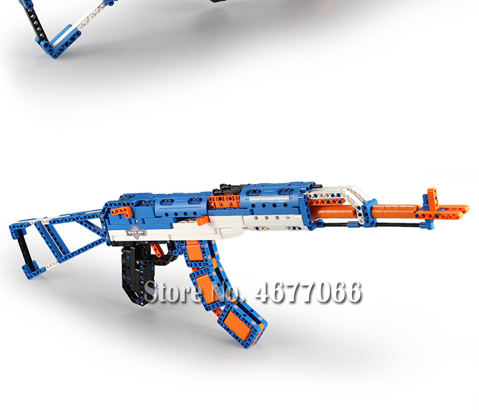 Legoed gun model building blocks p90 toy gun toy brick ak47 toy gun weapon legoed technic bricks lepin gun toys for boy 145